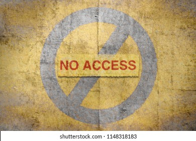 Text No Access written in red on golden background