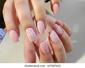 Text on nails, manicure
