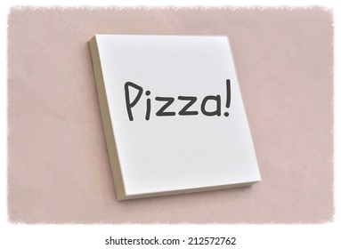 Text pizza on the short note texture background