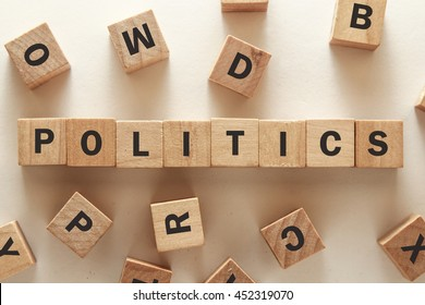 text of POLITICS on cubes