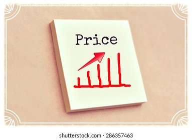 Text price on the graph goes up on the short note texture background