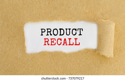 Text Product Recall appearing behind ripped brown paper.