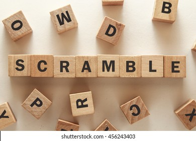 text of SCRAMBLE on cubes