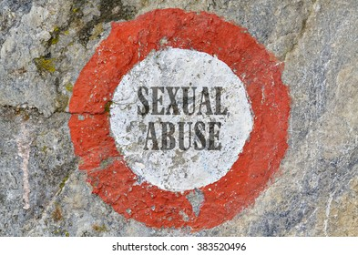 Text Sexual Abuse inside of a red circle on textured background