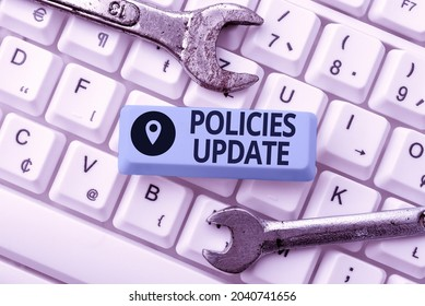 Text showing inspiration Policies Update. Business showcase act of adding new information or guidelines formulated Abstract Sending Multiple Messages Online, Typing Group Lessons