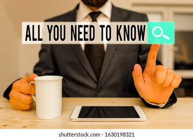 Text sign showing All You Need To Know. Conceptual photo Tell only the Facts and Important ones Access to Data Male human wear formal clothes present presentation use hi tech smartphone.