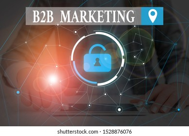 Text sign showing B2B Marketing. Conceptual photo Partnership Companies Supply Chain Merger Leads Resell Woman wear formal work suit presenting presentation using smart device.