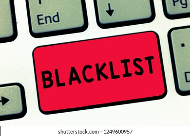 Text sign showing Blacklist. Conceptual photo list of showing or groups regarded as unacceptable or untrustworthy Keyboard key Intention to create computer message, pressing keypad idea.
