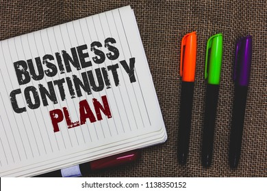 Text sign showing Business Continuity Plan. Conceptual photo creating systems prevention deal potential threats Open notebook page jute background colorful markers Expressing ideas.