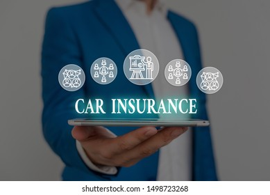 Text sign showing Car Insurance. Conceptual photo Accidents coverage Comprehensive Policy Motor Vehicle Guaranty Male human wear formal work suit presenting presentation using smart device.
