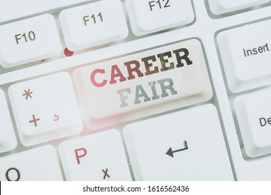 Text sign showing Career Fair. Conceptual photo an event at which job seekers can meet possible employers.