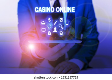 Text sign showing Casino Online. Conceptual photo Computer Poker Game Gamble Royal Bet Lotto High Stakes.