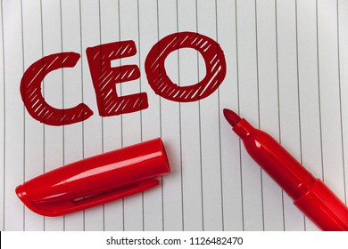Text sign showing Ceo. Conceptual photo Chief Executive Officer Head Boss Chairperson Chairman Controller Ideas message notebook paper open marker intentions communicate feelings.