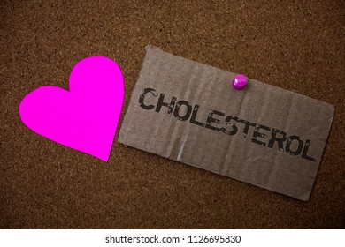 Text sign showing Cholesterol. Conceptual photo Low Density Lipoprotein High Density Lipoprotein Fat Overweight Old damaged paperboard ideas message purple heart love lovely intentions.