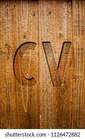 Text sign showing Cv. Conceptual photo Curriculum Vitae Resume Infographics Job Searching Employee Recruitment Ideas messages wooden background intentions feelings thoughts communicate.