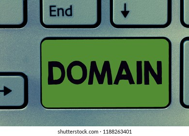 Text sign showing Domain. Conceptual photo distinct subset of Internet with addresses sharing common suffix