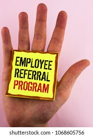Text sign showing Employee Referral Program. Conceptual photo Recommend right jobseeker share vacant job post written Yellow Sticky Note Paper placed the Hand the plain background.