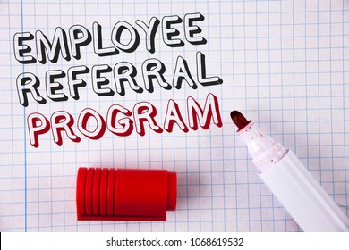 Text sign showing Employee Referral Program. Conceptual photo Recommend right jobseeker share vacant job post