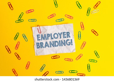 Text sign showing Employer Branding. Conceptual photo promoting company employer choice to desired target group Blank crushed paper sheet message clips binders plain colored background.