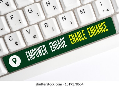Text sign showing Empower Engage Enable Enhance. Conceptual photo Empowerment Leadership Motivation Engagement White pc keyboard with empty note paper above white background key copy space.