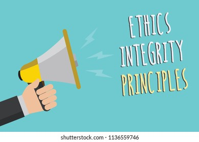 Text sign showing Ethics Integrity Principles. Conceptual photo quality of being honest and having strong moral Man holding megaphone loudspeaker blue background message speaking loud.