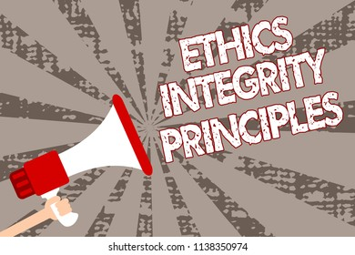Text sign showing Ethics Integrity Principles. Conceptual photo quality of being honest and having strong moral Man holding megaphone loudspeaker grunge gray rays important messages.