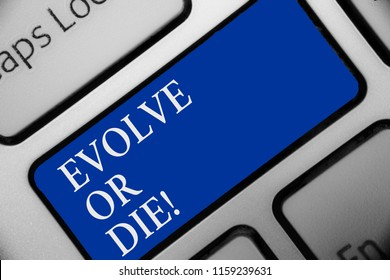Text sign showing Evolve Or Die. Conceptual photo Necessity of change grow adapt to continue living Survival Keyboard blue key Intention create computer computing reflection document.