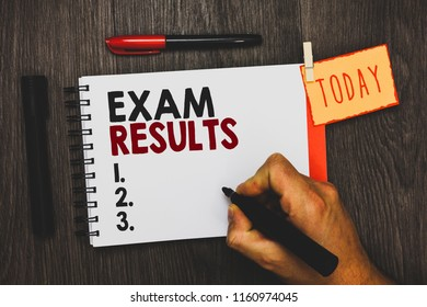 Text sign showing Exam Results. Conceptual photo An outcome of a formal test that shows knowledge or ability Man holding marker notebook clothespin hold reminder cup markers wood table.