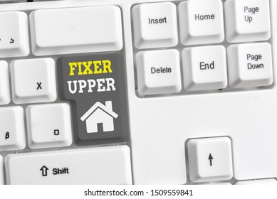 Text sign showing Fixer Upper. Conceptual photo house in need of repairs used chiefly connection with purchase White pc keyboard with empty note paper above white background key copy space.