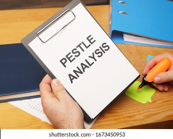 Text sign showing hand written words PESTLE Analysis