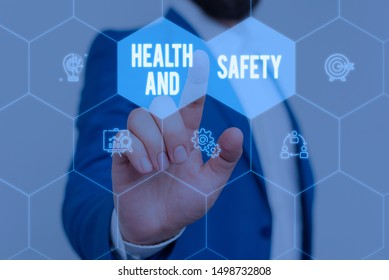 Text sign showing Health And Safety. Conceptual photo procedures intended to prevent accident in workplace Male human wear formal work suit presenting presentation using smart device.