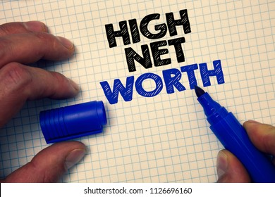 Text sign showing High Net Worth. Conceptual photo having high-value Something expensive A-class company Graph paper grey important thoughts ideas information science math data.