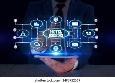Text sign showing Hotel Booking. Conceptual photo Online Reservations Presidential Suite De Luxe Hospitality Male human wear formal work suit presenting presentation using smart device.