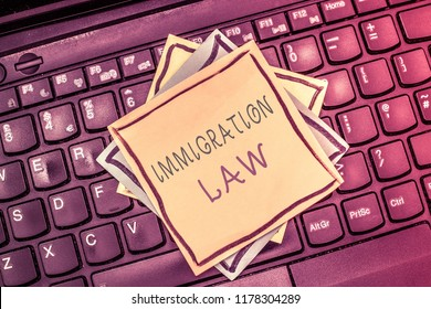 Text sign showing Immigration Law. Conceptual photo Emigration of a citizen shall be lawful in making of travel