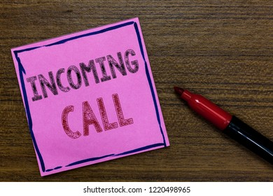 Text sign showing Incoming Call. Conceptual photo Inbound Received Caller ID Telephone Voicemail Vidcall Purple Paper Important reminder Communicate ideas Marker Wooden background.