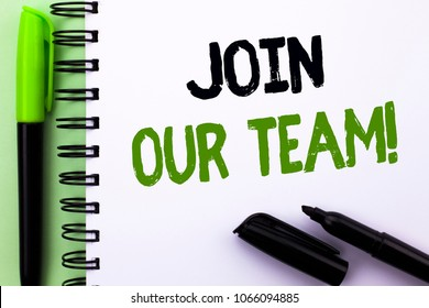 Text sign showing Join Our Team Motivational Call. Conceptual photo Invitation to Work Together Job Offer written Notebook Book the Green background Marker and Pen next to it.