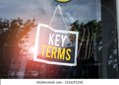 Text sign showing Key Terms. Conceptual photo Words that can help a demonstrating in searching information they need Empty black board with copy space for advertising. Blank dark board.