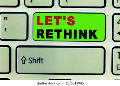 Text sign showing Let s is Rethink. Conceptual photo an Afterthought To Remember Reconsider Reevaluate