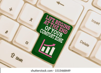 Text sign showing Life Begins At The End Of Your Comfort Zone. Conceptual photo Make changes evolve grow White pc keyboard with empty note paper above white background key copy space.