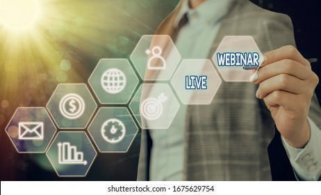 Text sign showing Live Webinar. Conceptual photo presentation lecture or seminar transmitted over Web.
