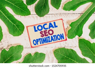 Text sign showing Local Seo Optimization. Conceptual photo increase Search Visibility to Rank on Top list.
