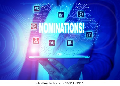 Text sign showing Nominations. Conceptual photo action of nominating or state being nominated for prize Male human wear formal work suit presenting presentation using smart device.