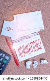 Text sign showing Nominations. Conceptual photo action of nominating or state being nominated for prize Desk notebook paper office cardboard paperboard study supplies table chart.