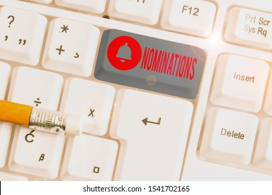 Text sign showing Nominations. Conceptual photo action of nominating or state being nominated for prize White pc keyboard with empty note paper above white background key copy space.