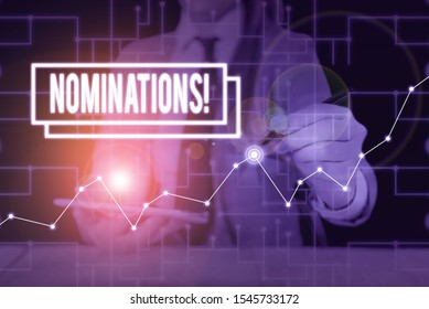 Text sign showing Nominations. Conceptual photo action of nominating or state being nominated for prize Woman wear formal work suit present presentation using smart latest device.