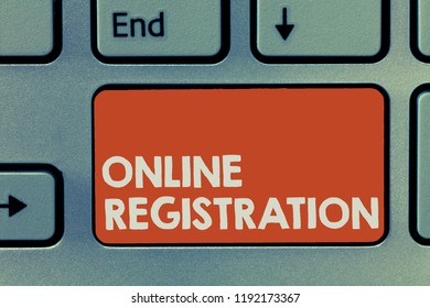Text sign showing Online Registration. Conceptual photo Process to Subscribe to Join an event club via Internet