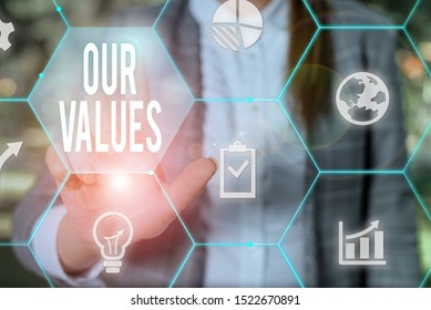 Text sign showing Our Values. Conceptual photo list of morals companies or individuals commit to do them Female human wear formal work suit presenting presentation use smart device.