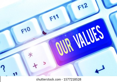 Text sign showing Our Values. Conceptual photo list of morals companies or individuals commit to do them White pc keyboard with empty note paper above white background key copy space.