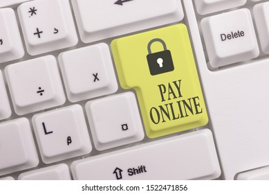 Text sign showing Pay Online. Conceptual photo buy products or service using credit card on any website White pc keyboard with empty note paper above white background key copy space.