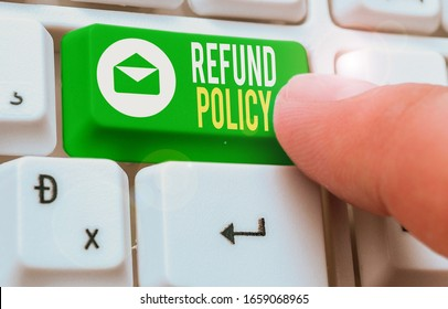 Text sign showing Refund Policy. Conceptual photo refund or exchange defective merchandise previously buy.